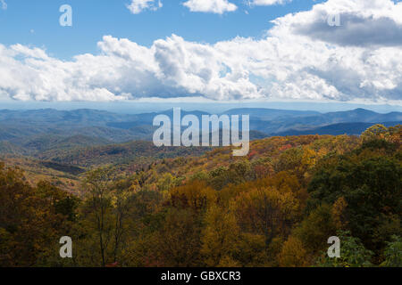 Blue Ridge Parkway overlook in the Fall, NC - Stock Image