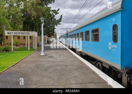 The Premier Classe train bound for Cape Town makes a scheduled stop in the hamlet of Matjisfontein, Karoo, South Africa - January 19, 2019 - Stock Image