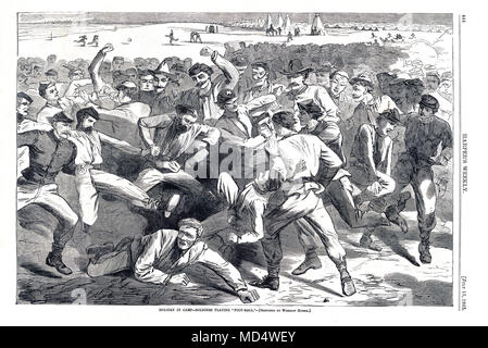 US Mob Football, 1865 engraving in Harpers Weekly of soldiers in camp playing a rough game of football, a precursor of rugby, American football and soccer with seemingly little organisation and few rules - Stock Image