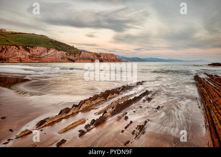 Flysch formation at Itzurun Beach, Zumaia, Basque Country, Spain - Stock Image