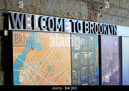 dumbo, brooklyn, sign, New York, map - Stock Image