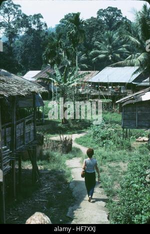 Settlement of Dayak people, Longhouses; Kuching area, Sarawak, Malaysia.  Many Dayak people believe in nature spirits, - Stock Image