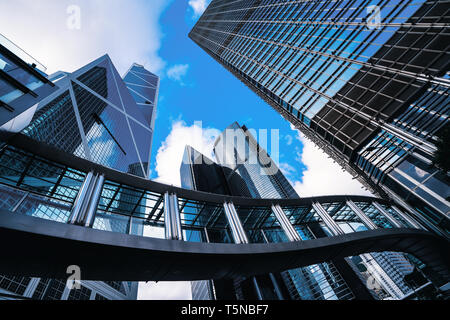 Modern business center in Hongkong. Skyscrapers in commercial area at Hongkong. - Stock Image