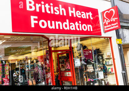 British Heart Foundation charity shop, British Heart Foundation, charity shops, British Heart Foundation logo, British Heart Foundation sign, charities - Stock Image