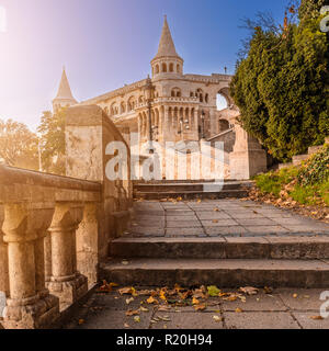 Budapest, Hungary - Entrance of the famous Fisherman's Bastion at sunrise with clear blue sky - Stock Image