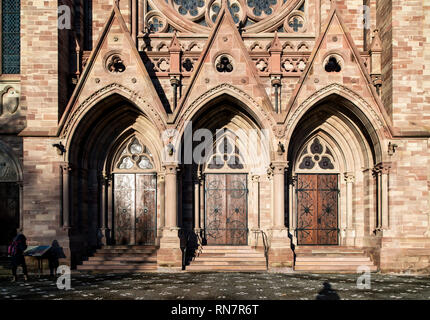 Strasbourg, Alsace, France, St Paul protestant church, main portals, Neustadt district, - Stock Image