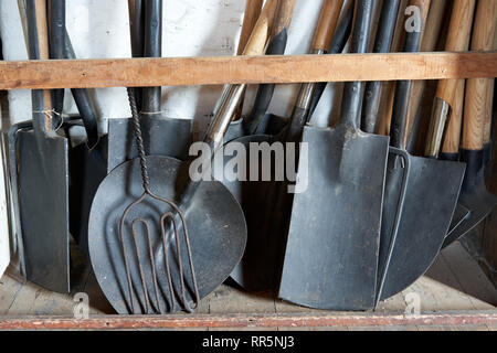 Shovels and spades in the hardware store, St Fagans Museum of Welsh Life, Cardiff - Stock Image