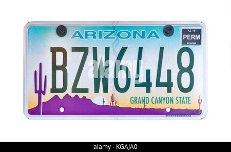 Arizona license plate; vehicle registration number. Arizona Grand Canyon State number plate. - Stock Image