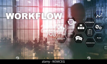 Automation of business workflows. Work process. Reliability and repeatability in technology and financial processes. - Stock Image