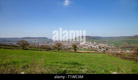 View looking from Trow Hill over to Sidmouth and Sidford, Devon, UK - Stock Image