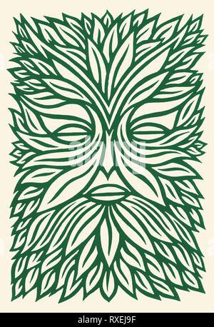The green man linocut print - Stock Image