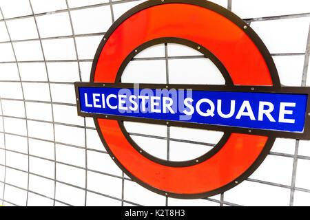 London Underground sign, London Underground Leicester Square sign, Leicester Square underground station sign, Leicester Square underground station - Stock Image