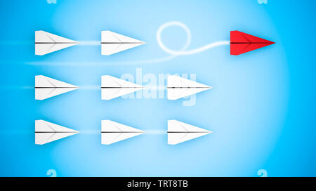 Leadership concept with paper planes 3D rendering - Stock Image