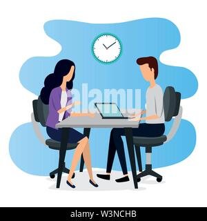 businesswoman and businessman teamwork with laptop and clock - Stock Image