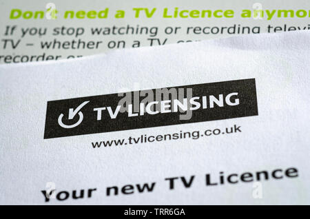 Close up of Television Licence for the United Kingdom, The fee is paid yearly and is used to fund the BBC services - Stock Image