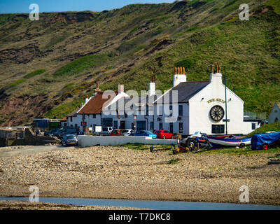 The Ship pub at the East  end of  Saltburn Beach North Yorkshiure in spring sunshine - Stock Image