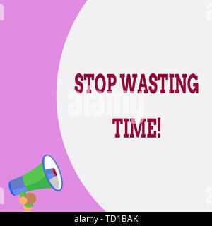 Text sign showing Stop Wasting Time. Business photo text advising demonstrating or group start planning and use it wisely Half part blank huge balloon - Stock Image