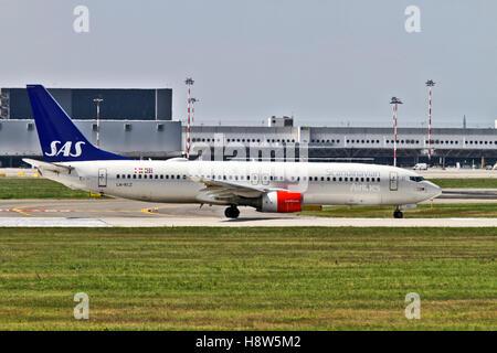 SAS Scandinavian Airlines System Boeing 737 Next Gen. at Milan - Malpensa (MXP / LIMC) Italy - Stock Image