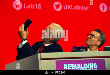 Liverpool, UK. 23rd Sept 2018. Jeremy Corbyn, Leader Labour Pary and Tom Watson, Deputy Leader at the LAbour PArty Conference Liverpool Credit: Della Batchelor/Alamy Live News - Stock Image
