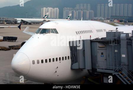 Boeing 747 Hong Kong international airport China - Stock Image