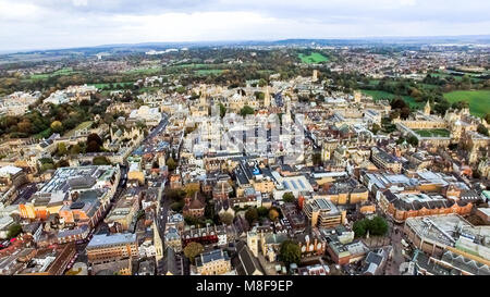 Oxford City, England Aerial Photo. Helicopter View Image Including Historic Buildings such as Oxford University - Stock Image