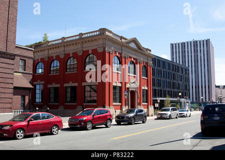 June 23, 2018- St. Johns, Newfoundland: The fancy and luxurious downtown establishment called Raymond's on Water Street, beside the new Alt Hotel - Stock Image