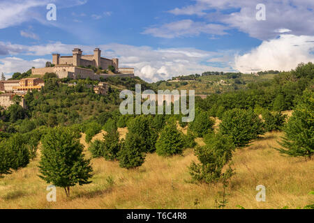 Italy, Umbria, Perugia district, Spoleto, Rocca Albornoz - Stock Image