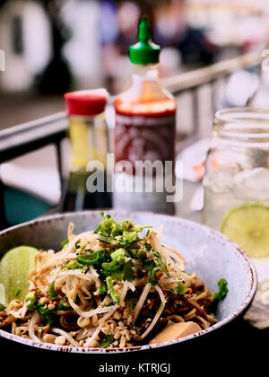 Pad Thai - Asian street food fried noodle dish from Thailand - Stock Image