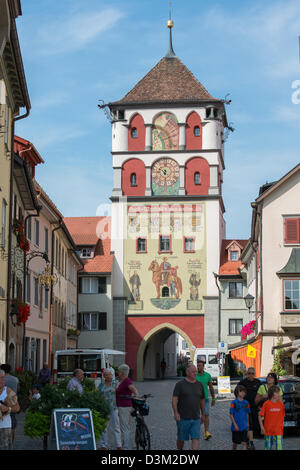 Old Town center of Wangen with Tower and Archway, Allgau, Baden-Wurttemberg, Germany - Stock Image
