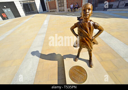 London, England, UK. 'Fearless Girl' statue (Kristen Visbal, 2019) copy of the original (2017) in New York. Unveiled in Paternoster Square by State St - Stock Image