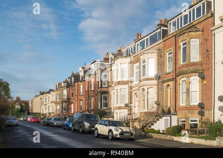 Northumberland Terrace, a row of town houses, Tynemouth, north east England, UK - Stock Image