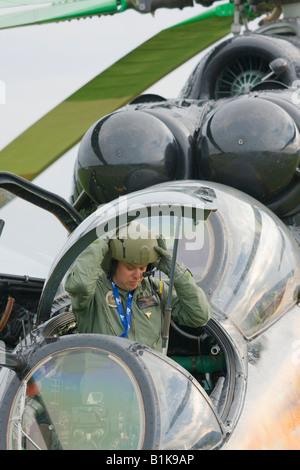 Hungarian Mi-24, crew member leaving cockpit, Airshow Maribor 2008, Slovenia June 15, 2008 - Stock Image