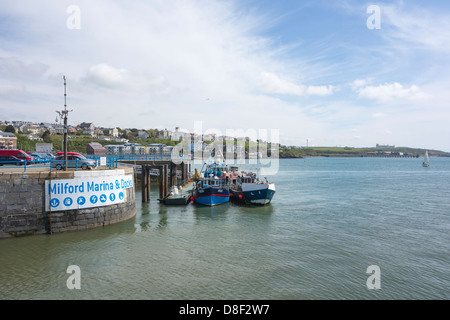 Fishing vessels moored outside the entrance to Milford Haven Port - Stock Image