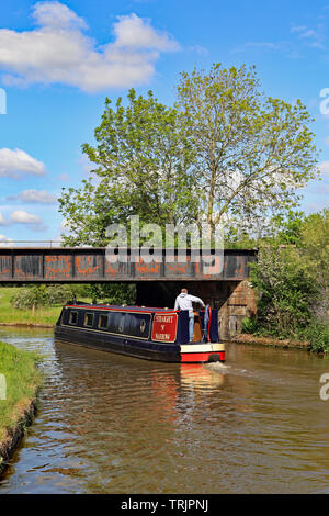 A black and red canal narrow boat passes under a railway over bridge on the Trent and Mersey canal on a blue skied spring day in Cheshire. - Stock Image