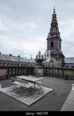 Roof terrace at Christiansborg Palace Slotsholmen with the Danish parliament - Stock Image