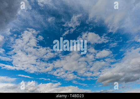 Blue sky with white puffy clouds - Stock Image