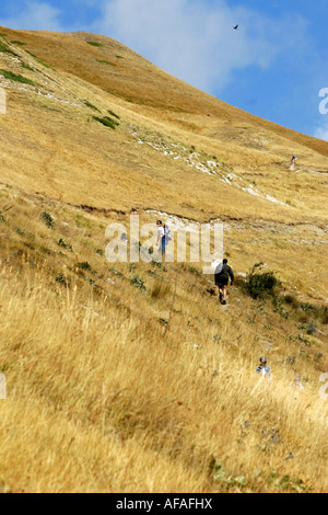 Hikers on Monte Sibilla in the Sibillini National Park Le Marche Italy - Stock Image