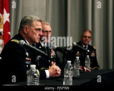 A panel of senior military leaders and Austin government leaders answers questions about newly activated Army Futures Command during a press conference held at the University of Texas System's building in Austin, Texas, August 24, 2018. The establishment of Army Futures Command marks one of the most significant Army reorganization efforts since 1973, when the U.S. army disestablished the Continental Army Command and Combat Development Command, and redistributed their functions between two new commands, U.S. Army Forces Command and U.S. Army Training & Doctrine Command. (U.S. Army photo by Sgt. - Stock Image