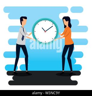 businessman and businesswoman with clock teamwork strategy - Stock Image