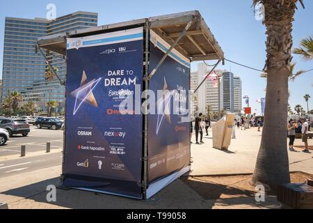 TEL AVIV, ISRAEL. May 11, 2019. A ticket counter for the international Eurovision song contest in the Eurovision village in the central Tel Aviv. - Stock Image