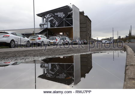 Water's Edge office space reflected Dundee Scotland  March 2019 - Stock Image