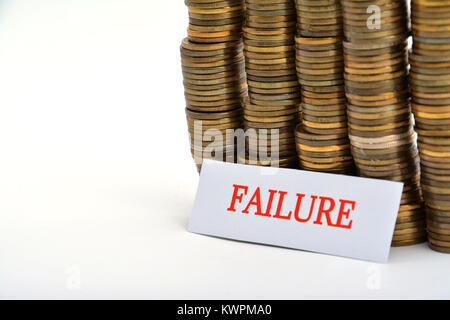 Word failure with coins isolated on white background - Stock Image