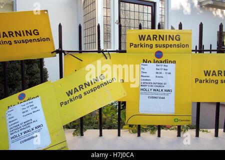 Car parking restriction sign in London England UK - Stock Image