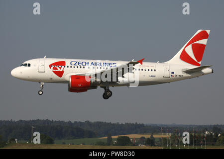 CSA Czech Airlines Airbus A319-100 with registration OK-NEP on short final for runway 14 of Zurich Airport. - Stock Image