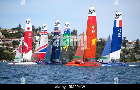 Sydney, Australia. 16th Feb, 2019. SailGP teams compete during the first SailGP event at the harbor in Sydney, Australia, Feb. 16, 2019. Credit: Bai Xuefei/Xinhua/Alamy Live News - Stock Image