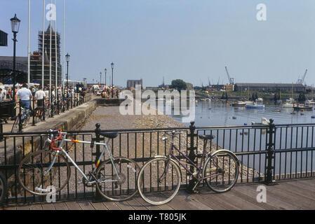 Cardiff Bay docks, Cardiff, Wales. Cymru. Circa 1980's - Stock Image