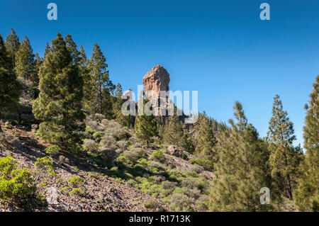 Views of Roque Nublo peak (Clouded rock, Rock in the clouds), in Nublo Rural Park, in the interior of the Gran Canaria Island, Canary Islands, Spain - Stock Image