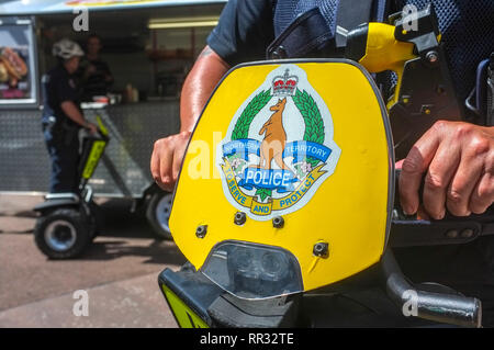 Northern Territory police officers on Segway personal transporter in the Smith Street Mall in Darwin, Northern Territory, Australia. - Stock Image