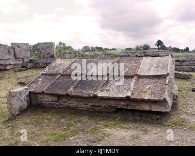 The agora Heroon at the ancient Greek archaeological site at Paestum, Salerno, in southern Italy - Stock Image