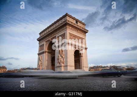 Arch of Triumph and Champs Elysees in Paris, France - Stock Image